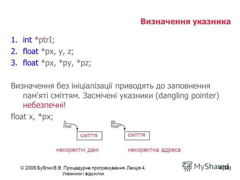 © 2006 Бублик В.В. Процедурне програмування. Лекція 4. Указники і відсилки 4 (38) Визначення указника 1.int *ptrI; 2.float *px, y, z; 3.float *px, *py, *pz; Визначення без ініціалізації приводять до заповнення пам'яті сміттям. Засмічені указники (dan