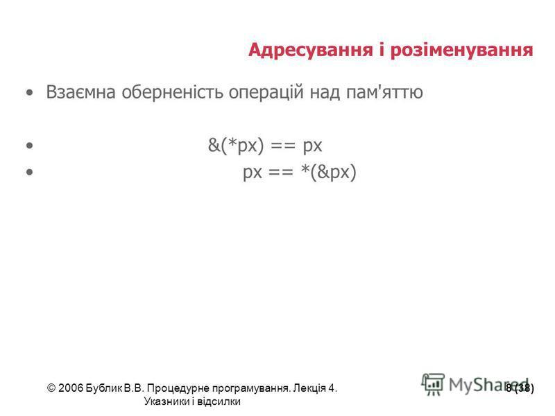 © 2006 Бублик В.В. Процедурне програмування. Лекція 4. Указники і відсилки 8 (38) Адресування і розіменування Взаємна оберненість операцій над пам'яттю &(*px) == px px == *(&px)