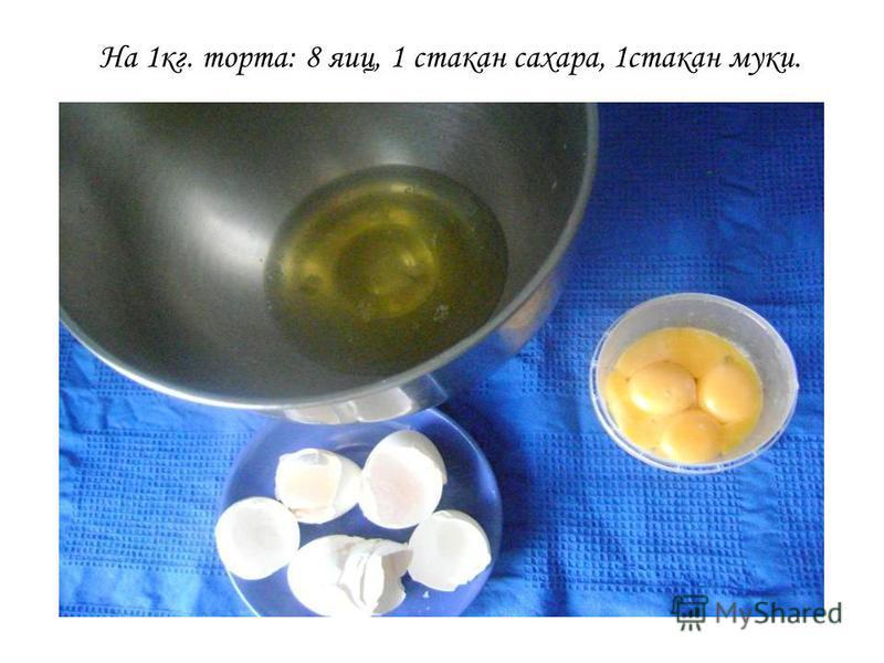 На 1 кг. торта: 8 яиц, 1 стакан сахара, 1 стакан муки.