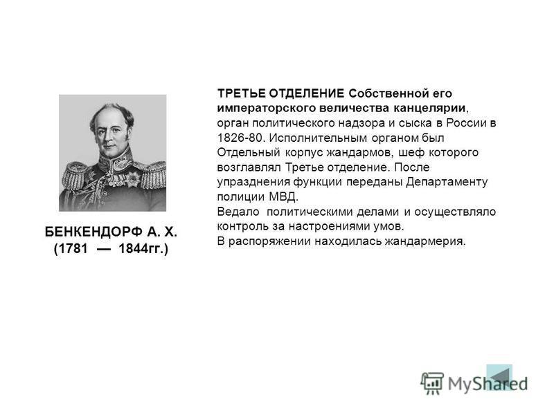 БЕНКЕНДОРФ А. Х. (1781 1844 гг.) ТРЕТЬЕ ОТДЕЛЕНИЕ Собственной его императорского величества канцелярии, орган политического надзора и сыска в России в 1826-80. Исполнительным органом был Отдельный корпус жандармов, шеф которого возглавлял Третье отде