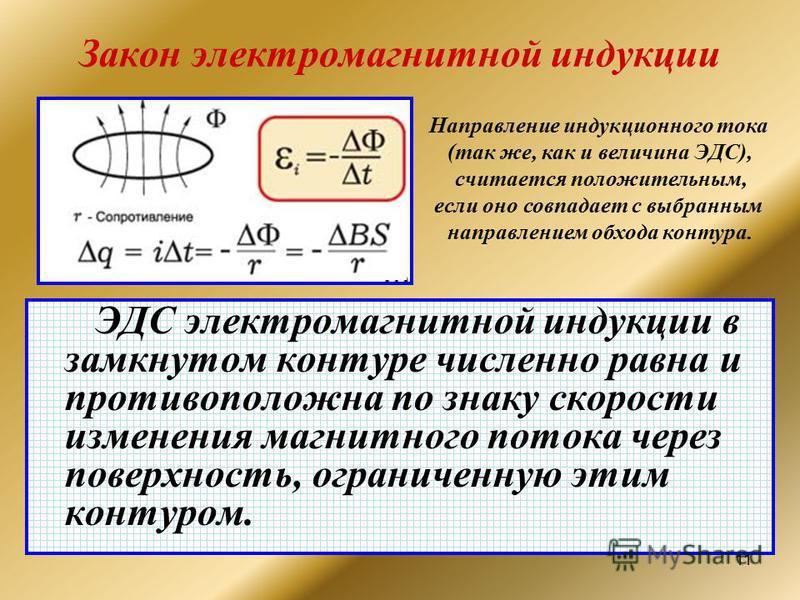11 Закон электромагнитной индукции ЭДС электромагнитной индукции в замкнутом контуре численно равна и противоположна по знаку скорости изменения магнитного потока через поверхность, ограниченную этим контуром. Направление индукционного тока (так же,