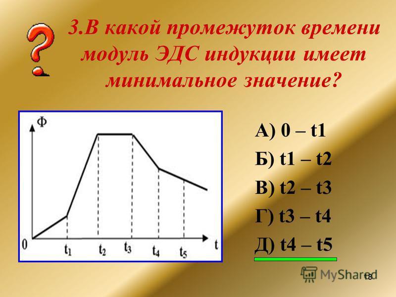 18 3. В какой промежуток времени модуль ЭДС индукции имеет минимальное значение? А) 0 – t1 Б) t1 – t2 В) t2 – t3 Г) t3 – t4 Д) t4 – t5