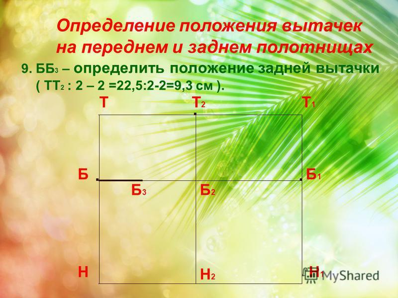 Определение положения вытачек на переднем и заднем полотнищах Т Н Т1Т1 Н1Н1 Б.. Б1Б1 Т2Т2. Б2Б2 Н2Н2 9. ББ 3 – определить положение задней вытачки ( ТТ 2 : 2 – 2 =22,5:2-2=9,3 см ). Б 3