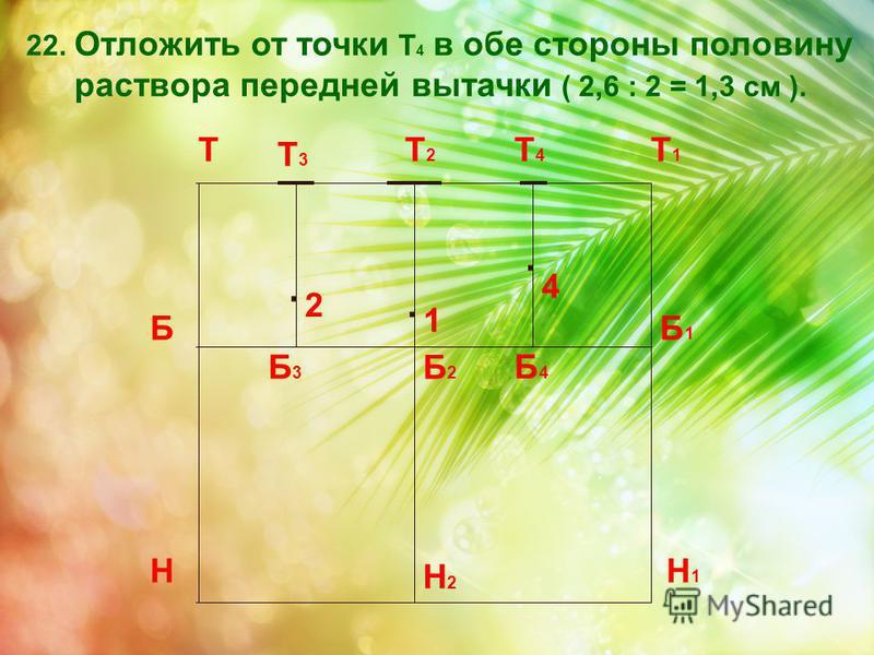 22. Отложить от точки Т 4 в обе стороны половину раствора передней вытачки ( 2,6 : 2 = 1,3 см ). Т Н Т1Т1 Н1Н1 ББ1Б1 Т2Т2 Б2Б2 Н2Н2 Б3Б3 Т3Т3 Б4Б4 Т4Т4 2. 4. 1.