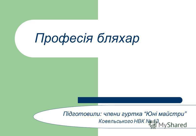 Професія бляхар Підготовили: члени гуртка Юні майстри Ковельського НВК 13