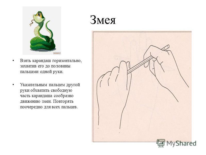Змея Взять карандаш горизонтально, захватив его до половины пальцами одной руки. Указательным пальцем другой руки обхватить свободную часть карандаша сообразно движению змеи. Повторять поочередно для всех пальцев.