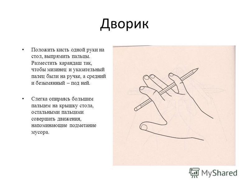 Дворик Положить кисть одной руки на стол, выпрямить пальцы. Разместить карандаш так, чтобы мизинец и указательный палец были на ручке, а средний и безымянный – под ней. Слегка опираясь большим пальцем на крышку стола, остальными пальцами совершать дв