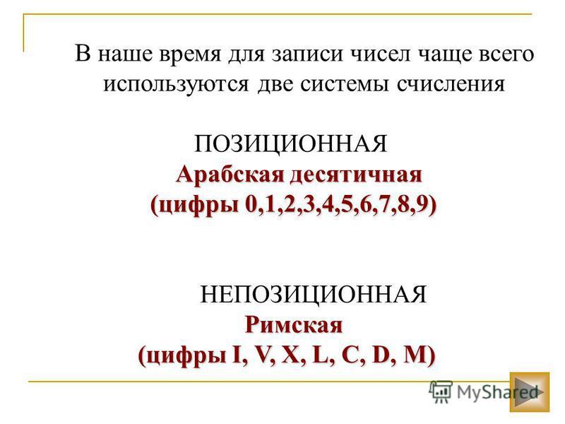 В наше время для записи чисел чаще всего используются две системы счисления ПОЗИЦИОННАЯ Арабская десятичная (цифры 0,1,2,3,4,5,6,7,8,9) (цифры 0,1,2,3,4,5,6,7,8,9) НЕПОЗИЦИОННАЯ Римская (цифры I, V, X, L, C, D, M) (цифры I, V, X, L, C, D, M)
