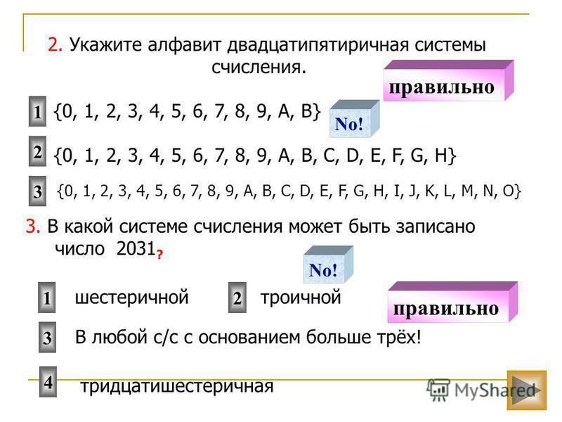 3. В какой системе счисления может быть записано число 2031 ? 12 4 шестеричной троичной 2. Укажите алфавит двадцатипятиричная системы счисления. 3 2 1 {0, 1, 2, 3, 4, 5, 6, 7, 8, 9, A, B, C, D, E, F, G, H} {0, 1, 2, 3, 4, 5, 6, 7, 8, 9, A, B, C, D, E