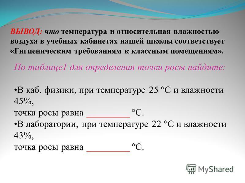 ВЫВОД: что температура и относительная влажностью воздуха в учебных кабинетах нашей школы соответствует «Гигиеническим требованиям к классным помещениям». По таблице 1 для определения точки росы найдите: В каб. физики, при температуре 25 °C и влажнос