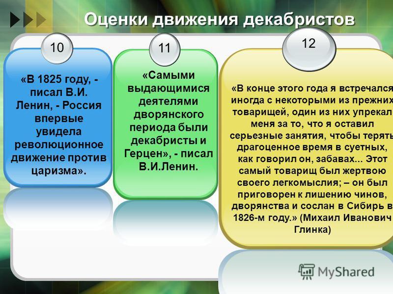 Оценки движения декабристов 10 «В 1825 году, - писал В.И. Ленин, - Россия впервые увидела революционное движение против царизма». 11 12 «В конце этого года я встречался иногда с некоторыми из прежних товарищей, один из них упрекал меня за то, что я о