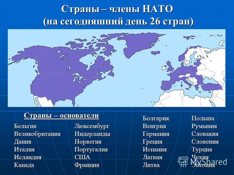 Страны – члены НАТО (на сегодняшний день 26 стран) Страны – основатели Бельгия Великобритания Дания Италия Исландия Канада Люксембург Нидерланды Норвегия Португалия США Франция Болгария Венгрия Германия Греция Испания Латвия Литва Польша Румыния Слов