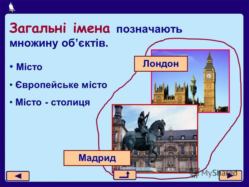 Загальні імена позначають множину обєктів. Місто Європейське місто Місто - столиця Мадрид Лондон