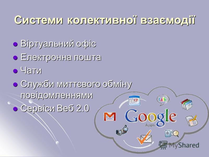Системи колективної взаємодії Віртуальний офіс Віртуальний офіс Електронна пошта Електронна пошта Чати Чати Служби миттєвого обміну повідомленнями Служби миттєвого обміну повідомленнями Сервіси Веб 2.0 Сервіси Веб 2.0