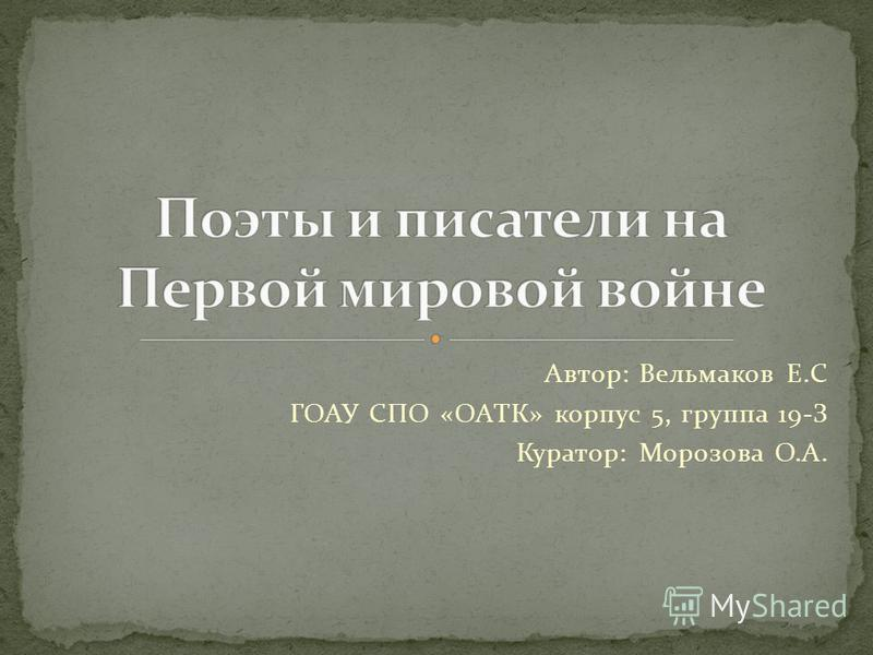 Автор: Вельмаков Е.С ГОАУ СПО «ОАТК» корпус 5, группа 19-З Куратор: Морозова О.А.