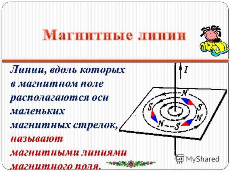 Линии, вдоль которых в магнитном поле располагаются оси маленьких магнитных стрелок, называют магнитными линиями магнитного поля.
