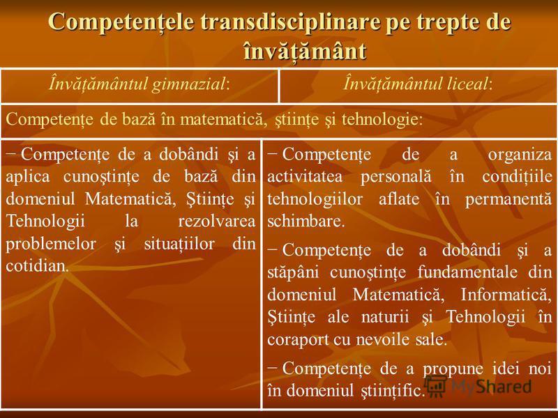 Competenţele transdisciplinare pe trepte de învăţământ Învăţământul gimnazial:Învăţământul liceal: Competenţe de bază în matematică, ştiinţe şi tehnologie: Competenţe de a dobândi şi a aplica cunoştinţe de bază din domeniul Matematică, Ştiinţe şi Teh