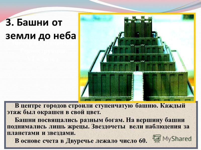 В центре городов строили ступенчатую башню. Каждый этаж был окрашен в свой цвет. Башни посвящались разным богам. На вершину башни поднимались лишь жрецы. Звездочеты вели наблюдения за планетами и звездами. В основе счета в Двуречье лежало число 60. З