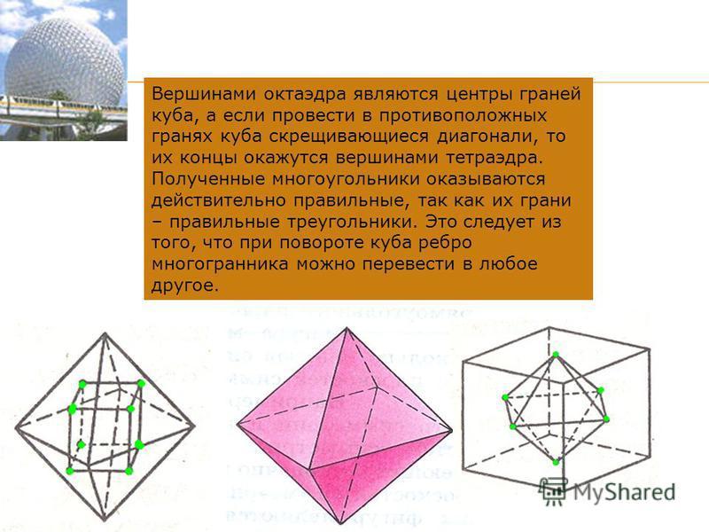 Вершинами октаэдра являются центры граней куба, а если провести в противоположных гранях куба скрещивающиеся диагонали, то их концы окажутся вершинами тетраэдра. Полученные многоугольники оказываются действительно правильные, так как их грани – прави