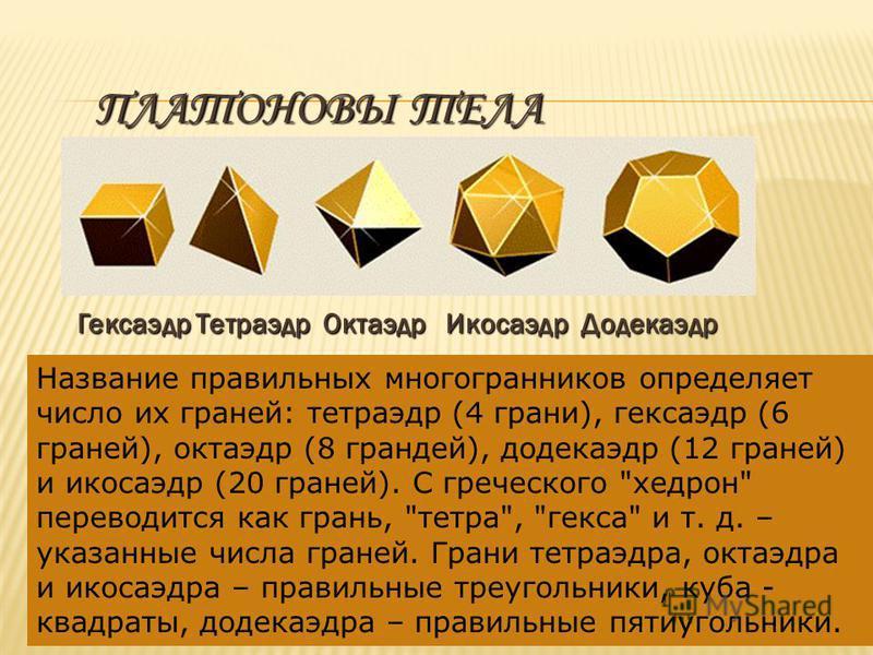ПЛАТОНОВЫ ТЕЛА Гексаэдр Тетраэдр Октаэдр Икосаэдр Додекаэдр Название правильных многогранников определяет число их граней: тетраэдр (4 грани), кексаэдр (6 граней), октаэдр (8 грандей), додекаэдр (12 граней) и икосаэдр (20 граней). С греческого
