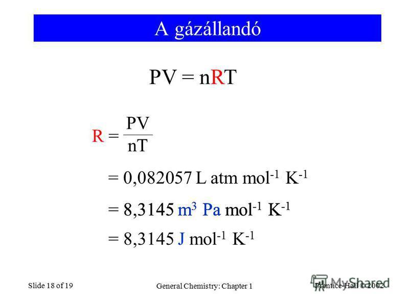 Prentice-Hall © 2002 General Chemistry: Chapter 1 Slide 18 of 19 A gázállandó R =R = PV nT = 0,082057 L atm mol -1 K -1 = 8.3145 m 3 Pa mol -1 K -1 PV = nRT = 8,3145 J mol -1 K -1 = 8,3145 m 3 Pa mol -1 K -1