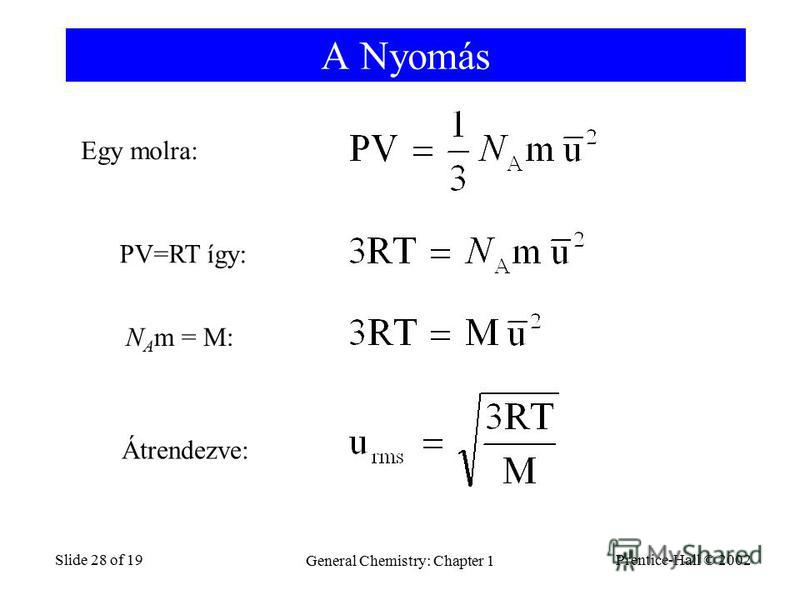 Prentice-Hall © 2002 General Chemistry: Chapter 1 Slide 28 of 19 A Nyomás Egy molra: PV=RT így: N A m = M: Átrendezve: