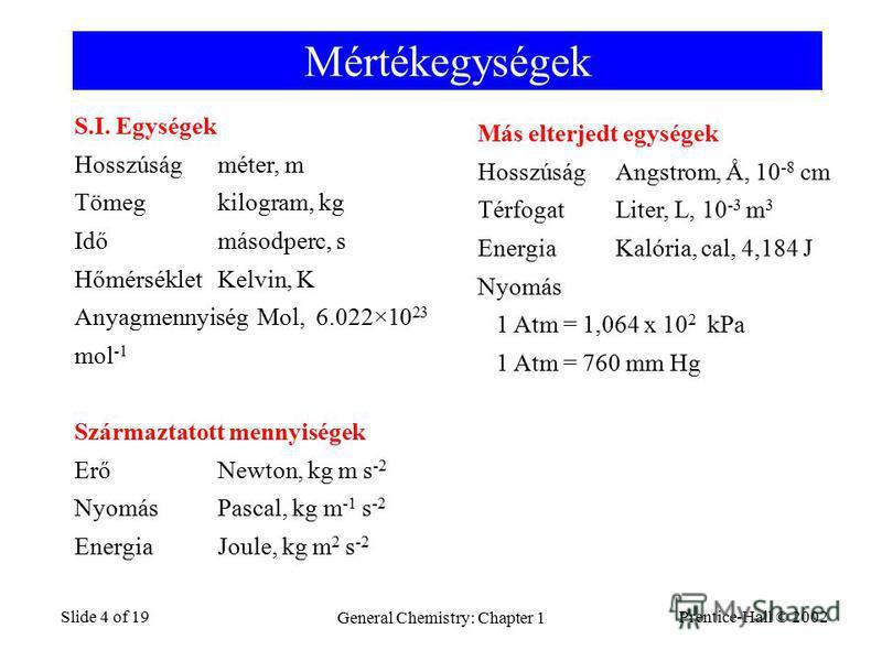Prentice-Hall © 2002 General Chemistry: Chapter 1 Slide 4 of 19 Mértékegységek S.I. Egységek Hosszúságméter, m Tömegkilogram, kg Időmásodperc, s HőmérsékletKelvin, K Anyagmennyiség Mol, 6.022×10 23 mol -1 Származtatott mennyiségek ErőNewton, kg m s -