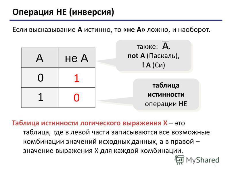 5 Операция НЕ (инверсия) Если высказывание A истинно, то «не А» ложно, и наоборот. Ане А 1 0 0 1 таблица истинности операции НЕ также:, not A (Паскаль), ! A (Си) Таблица истинности логического выражения Х – это таблица, где в левой части записываются