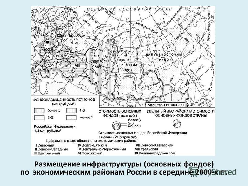 Размещение инфраструктуры (основных фондов) по экономическим районам России в середине 2000-х гг.