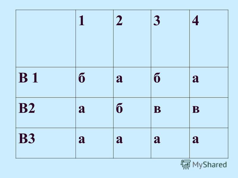 1234 В 1 баба В2 абвв В3 аапа