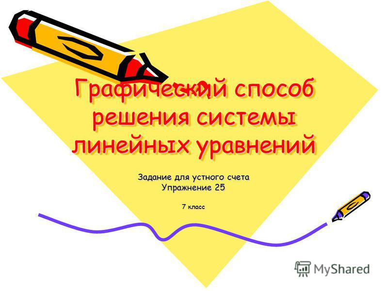 Графический способ решения системы линейных уравнений Задание для устного счета Упражнение 25 7 класс