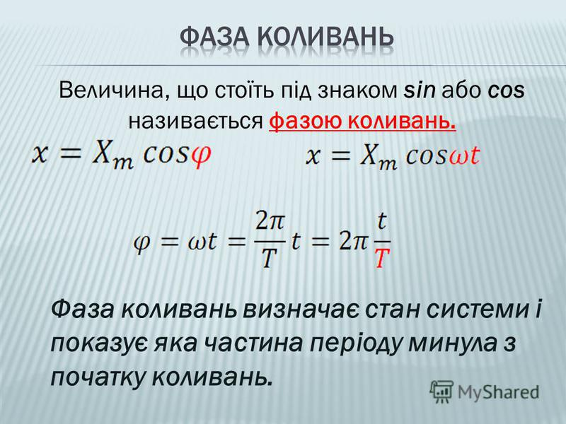 Величина, що стоїть під знаком sin або cos називається фазою коливань. Фаза коливань визначає стан системи і показує яка частина періоду минула з початку коливань.
