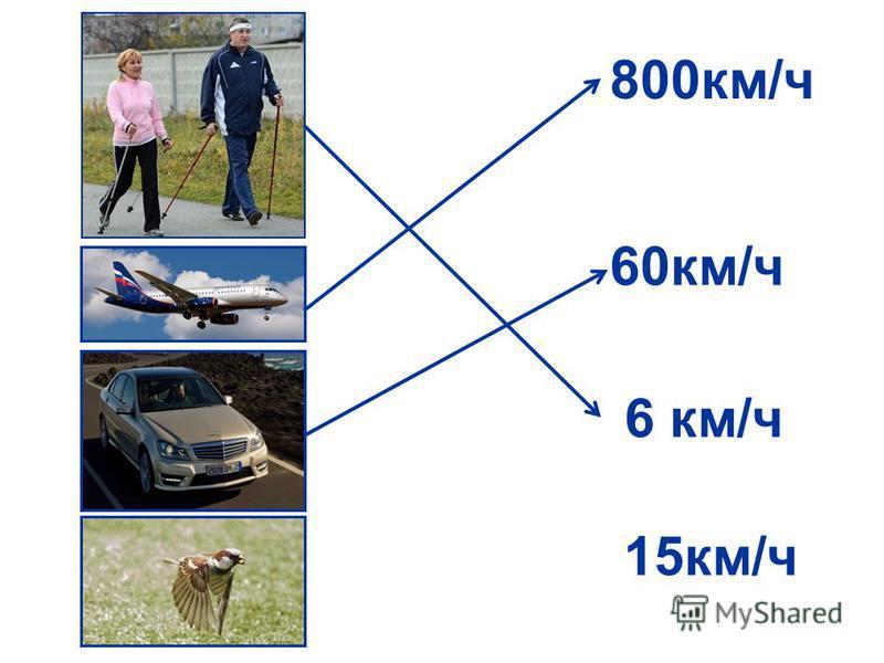 800 км/ч 15 км/ч 6 км/ч 60 км/ч