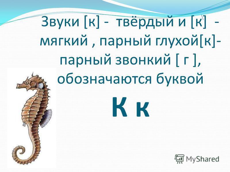 Звуки [к] - твёрдый и [к] - мягкий, парный глухой[к]- парный звонкий [ г ], обозначаются буквой К к