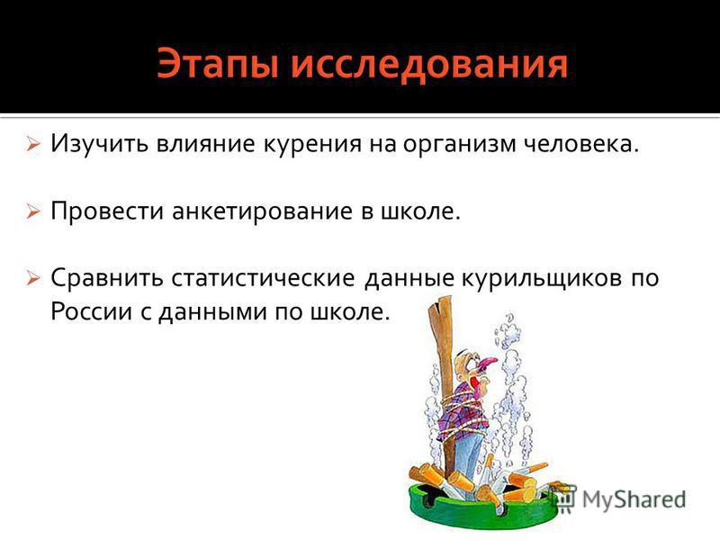 Изучить влияние курения на организм человека. Провести анкетирование в школе. Сравнить статистические данные курильщиков по России с данными по школе.