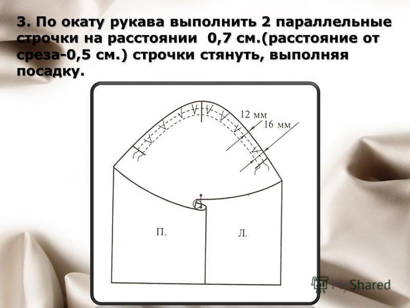 3. По окату рукава выполнить 2 параллельные строчки на расстоянии 0,7 см.(расстояние от среза-0,5 см.) строчки стянуть, выполняя посадку.
