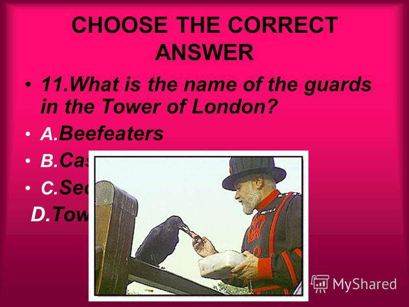 CHOOSE THE CORRECT ANSWER 11.What is the name of the guards in the Tower of London? A. Beefeaters B. Castle Guards C. Security Guards D.Tower Guards