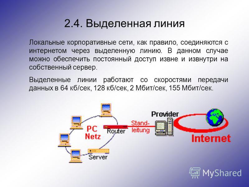 2.4. Выделенная линия Локальные корпоративные сети, как правило, соединяются с интернетом через выделенную линию. В данном случае можно обеспечить постоянный доступ извне и извнутри на собственный сервер. Выделенные линии работают со скоростями перед