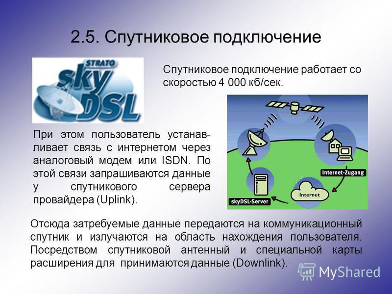 2.5. Спутниковое подключение Спутниковое подключение работает со скоростью 4 000 кб/сек. При этом пользователь устанавливает связь с интернетом через аналоговый модем или ISDN. По этой связи запрашиваются данные у спутникового сервера провайдера (Upl