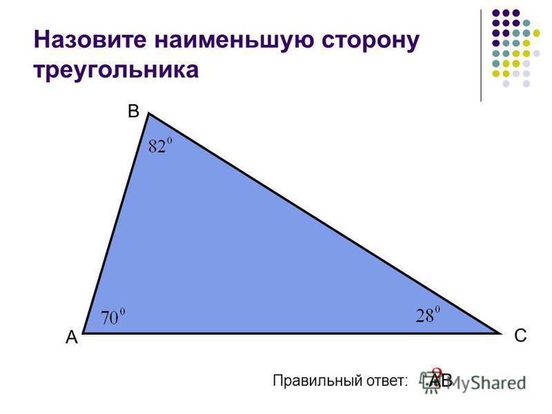 Назовите наименьшую сторону треугольника А В С Правильный ответ: АВ ?