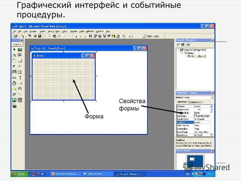 Графический интерфейс и событийные процедуры. Форма Свойства формы