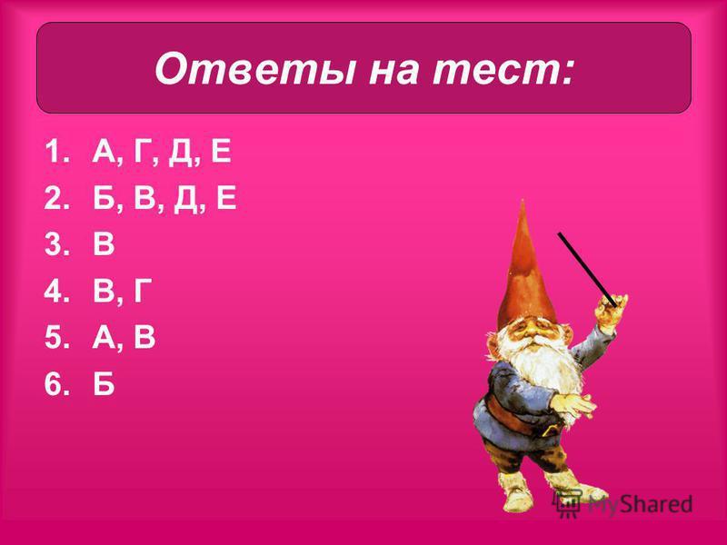1.А, Г, Д, Е 2.Б, В, Д, Е 3. В 4.В, Г 5.А, В 6. Б Ответы на тест: