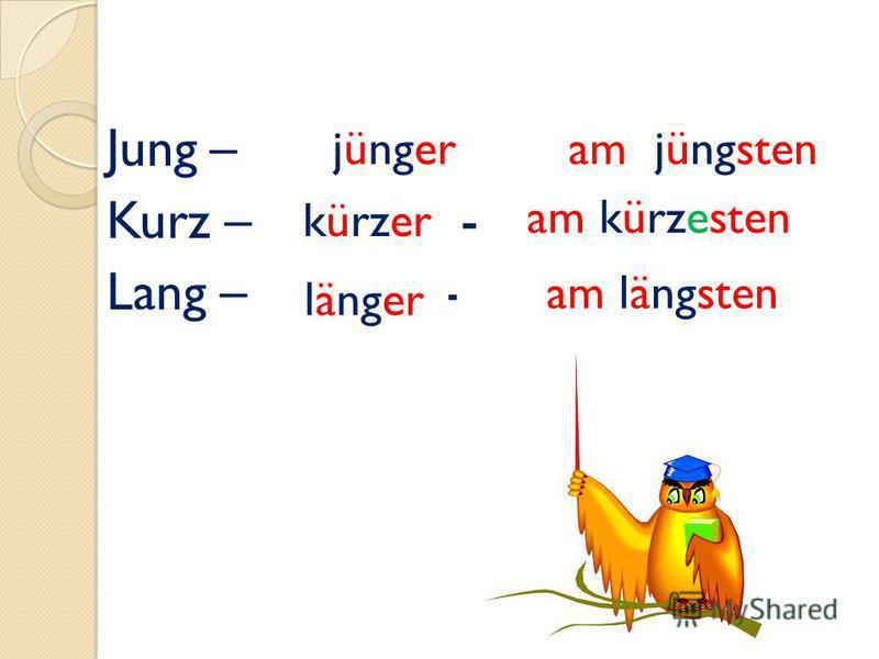 Jung – - Kurz – - Lang – - jüngeram jüngsten kürzer am kürzesten länger am längsten