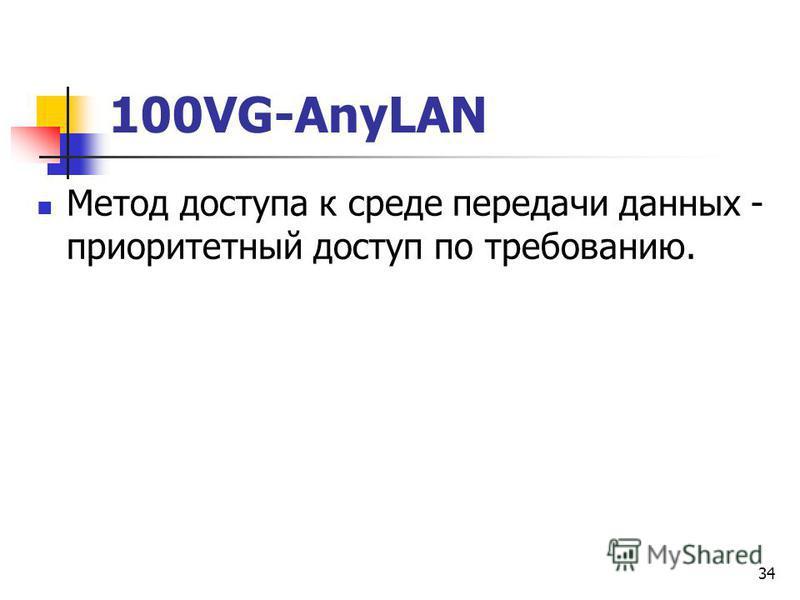 34 100VG-AnyLAN Метод доступа к среде передачи данных - приоритетный доступ по требованию.