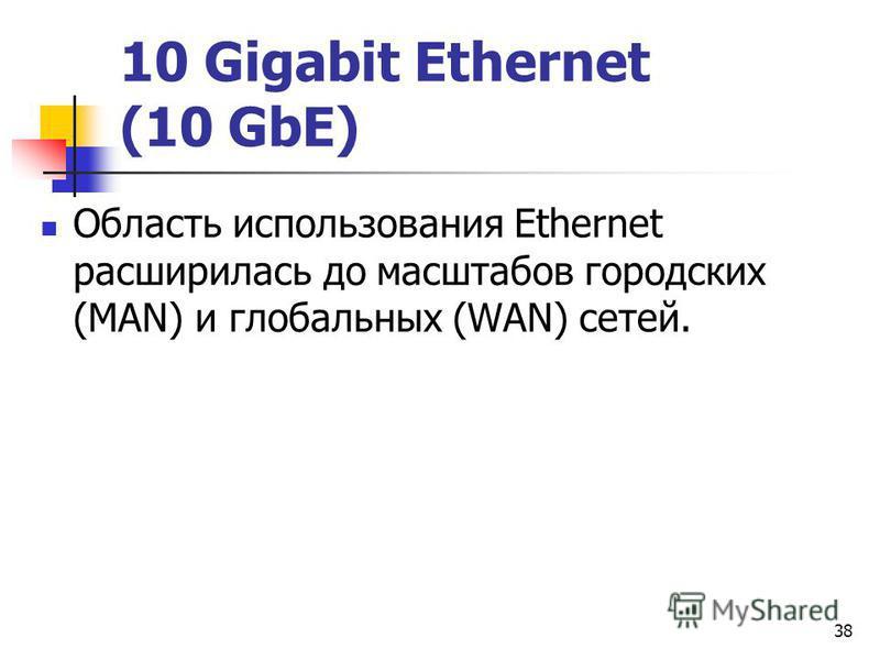 38 10 Gigabit Ethernet (10 GbE) Область использования Ethernet расширилась до масштабов городских (MAN) и глобальных (WAN) сетей.