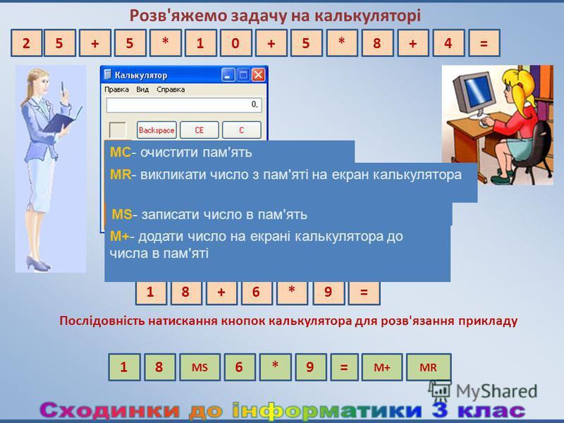 Перевіримо на калькуляторі Розв'яжемо задачу на калькуляторі Послідовність натискання кнопок калькулятора для розв'язання прикладу 18+6*9= МС- очистити пам'ять МR- викликати число з пам'яті на екран калькулятора МS- записати число в пам'ять М+- додат