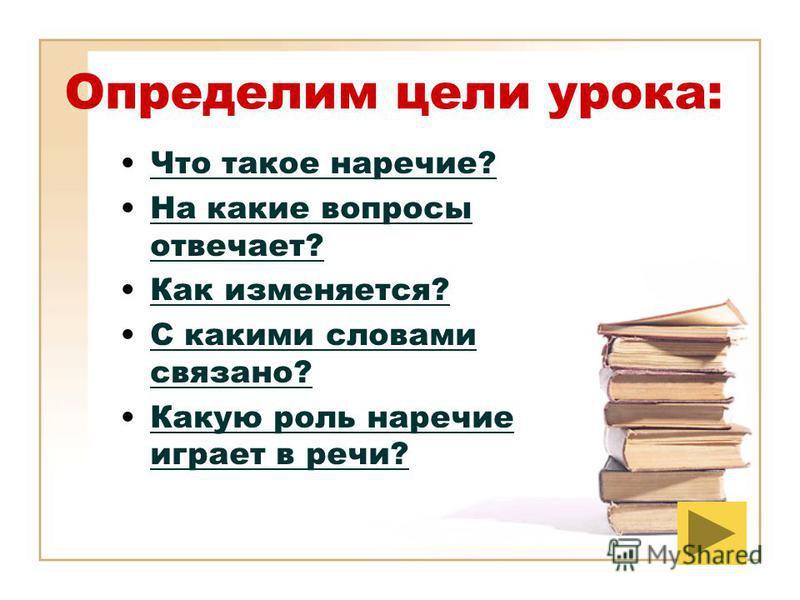 Определим цели урока: Что такое наречие? На какие вопросы отвечает?На какие вопросы отвечает? Как изменяется? С какими словами связано?С какими словами связано? Какую роль наречие играет в речи?Какую роль наречие играет в речи?