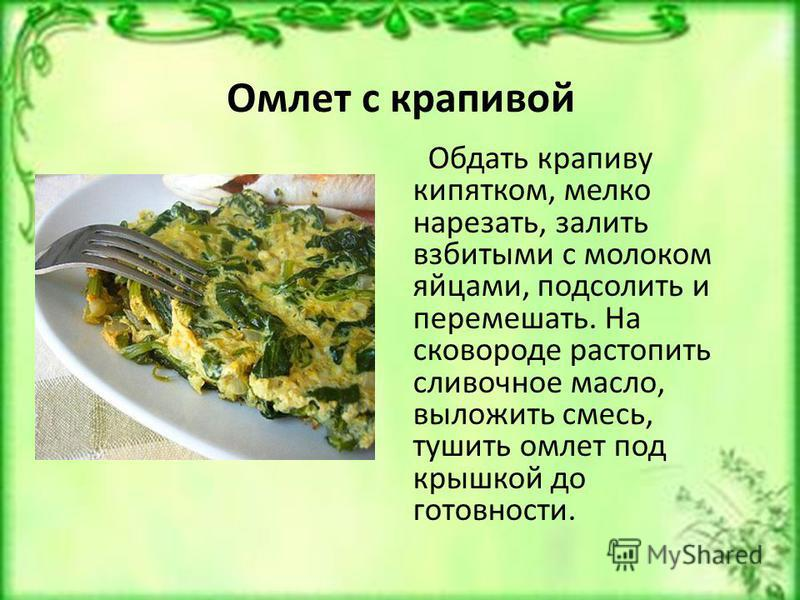 Омлет с крапивой Обдать крапиву кипятком, мелко нарезать, залить взбитыми с молоком яйцами, подсолить и перемешать. На сковороде растопить сливочное масло, выложить смесь, тушить омлет под крышкой до готовности.