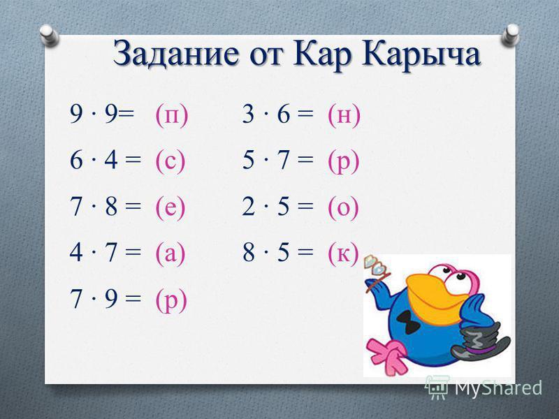 Задание от Кар Карыча 9 · 9= (п) 6 · 4 = (с) 7 · 8 = (е) 4 · 7 = (а) 7 · 9 = (р) 3 · 6 = (н) 5 · 7 = (р) 2 · 5 = (о) 8 · 5 = (к)