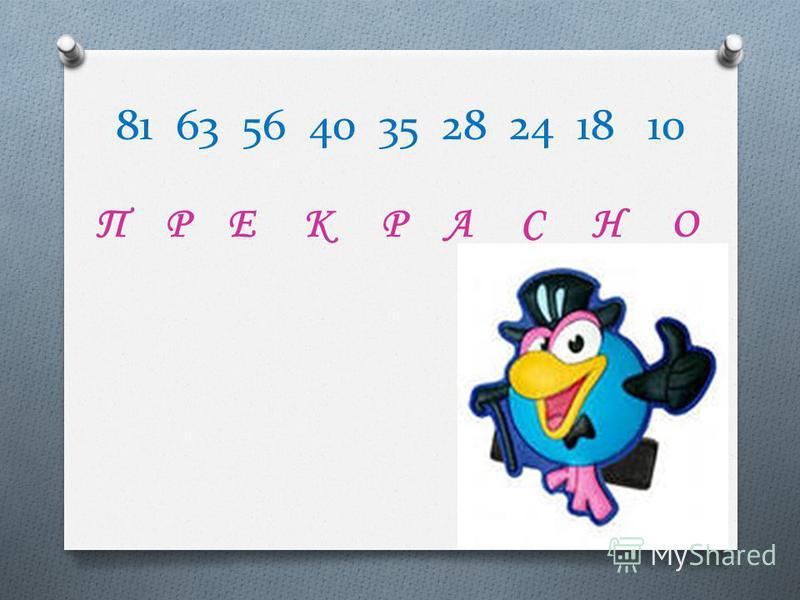 81 63 56 40 35 28 24 18 10 П Р Е К Р А С Н О